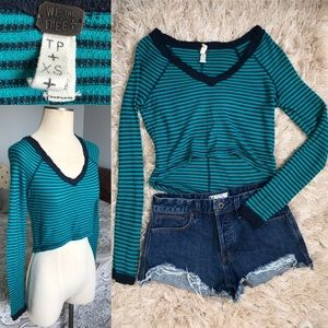 EUC! Teal We The Free Striped Crop Long Sleeve